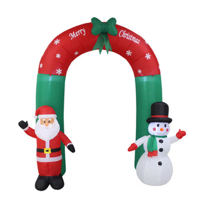 Inflatable 240cm Christmas Arch With Santa Snowman LED Lit