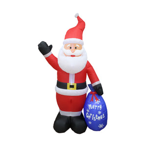 Inflatable 210cm Santa With Gift Bag LED Lit