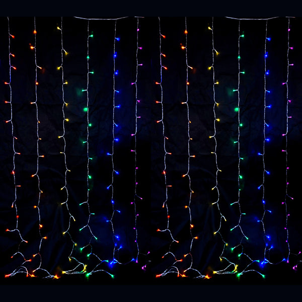 360 LED Rainbow Colour Curtain Lights Indoor/Outdoor