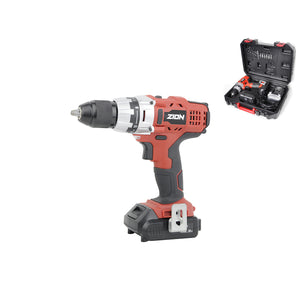 ZION 18V Cordless Drill BMC Pack Includes 2x2AH Li-ion Batteries Charger Bits Accessories