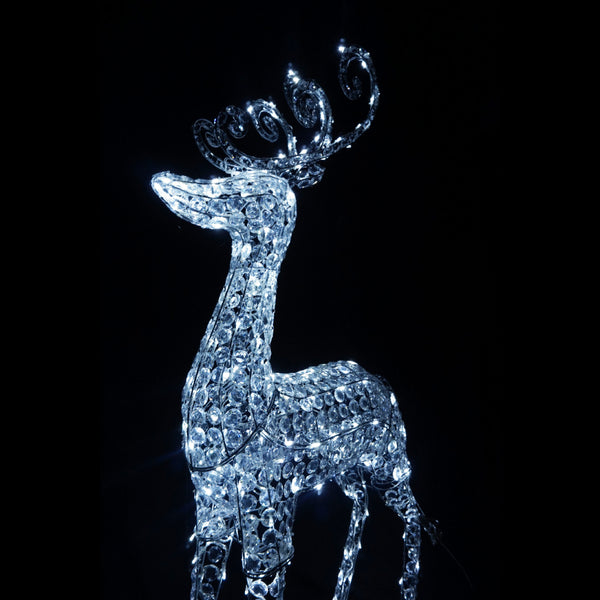 3D Crystal Reindeer 80x22x150cm 260 White LED Display Indoor/Outdoor
