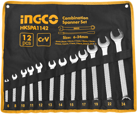 INGCO 12 Pcs Combination Spanners Canvas Set