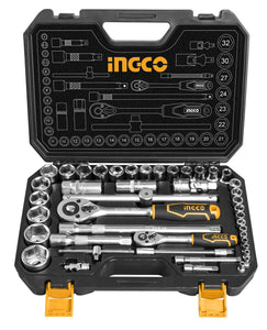"INGCO 44 Pcs 1/4"" 1/2"" Socket Set"
