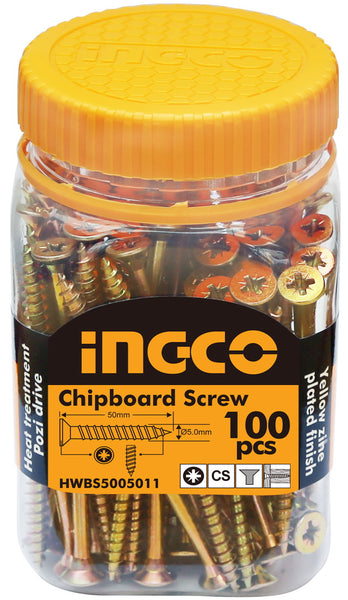 INGCO 100 Pcs 10G CS 50mm Drywall Screw Zinc Pozi