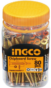 INGCO 80 Pcs 10G CS 80mm Drywall Screw Zinc Pozi