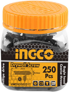 INGCO 250 Pcs 6G Bugle Head 25mm Drywall Screw