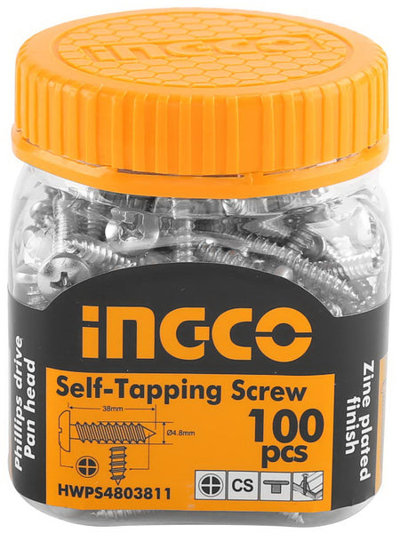 INGCO 100 Pcs 10G Pan Head 38mm Self Tapping Screw Zinc