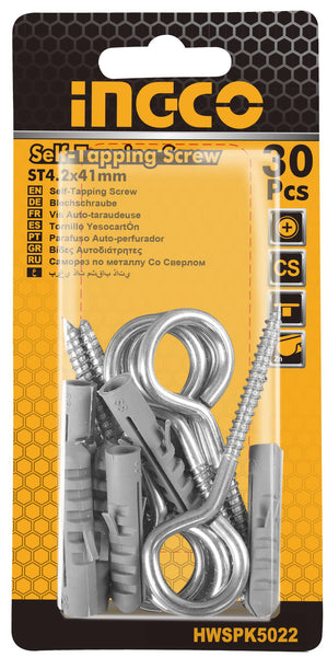 INGCO 6 Pcs Set Wall Plug 5mm Eye Screw 8G 41mm