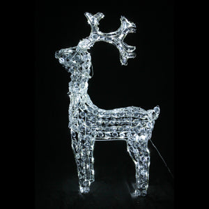 3D Crystal Standing Reindeer 120x58x17cm Twinkle White LED Display Indoor/Outdoor