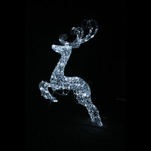 3D Crystal Leaping Reindeer 96x46x14cm White LED Display Indoor/Outdoor
