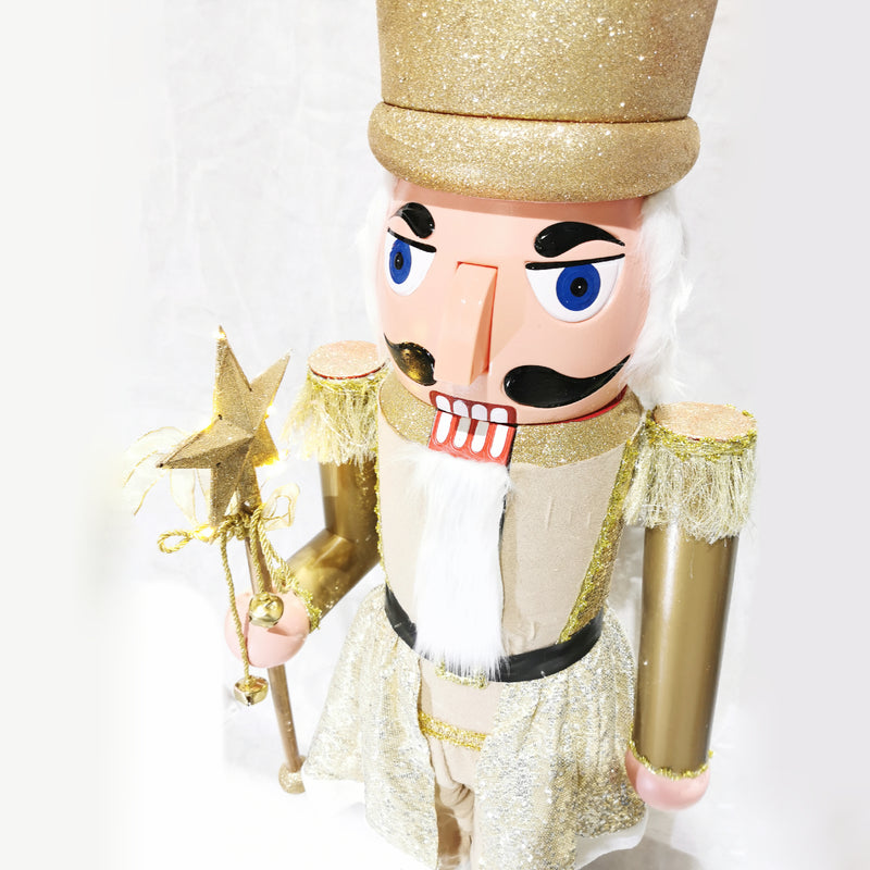 160cm Musical Animated Moving Golden Nutcracker Sings Jingle Bells Christmas Decoration