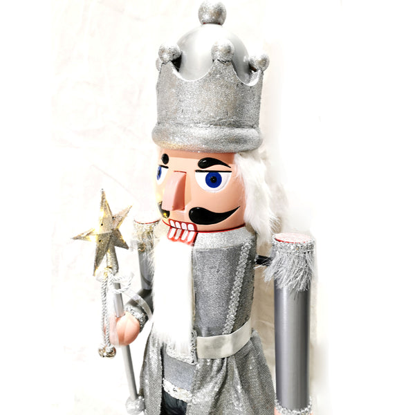 110cm Musical Animated Moving Silver Nutcracker Sings Jingle Bells Christmas Decoration