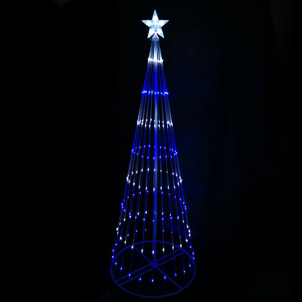 Blue White LED Cone Tree Digitally Animated 24 Functions 190/210cm