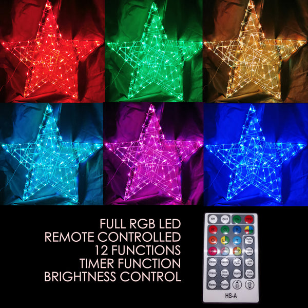 Christmas LED Motif RGB Remote Controlled Animated Star 57x57cm Indoor Outdoor Display Sign