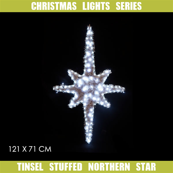Christmas LED Motif Tinsel Stuffed Nativity Northern Star 121x71cm Indoor Outdoor Display Sign