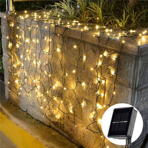 Solar Powered 200 LED Curtain Lights For Outdoor