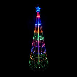 190cm Cone Tree 198 LED Digitally Animated 24 Functions Multi Colour