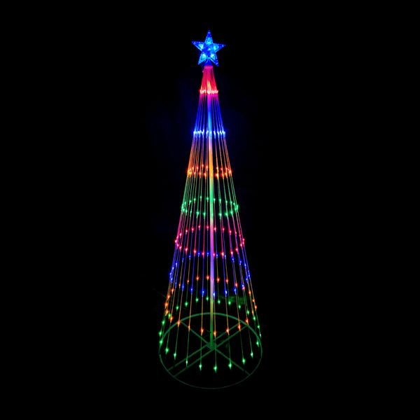 210cm Cone Tree 246 LED Digitally Animated 24 Functions Multi Colour