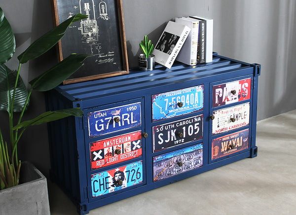 Artistically Plated Urban Metallic Retro Container Alike TV Cabinet Entertainment Unit