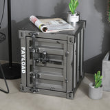 Urban Style Metallic Retro Container Alike Bedside Table Storage Cabinet Home Office Furniture - RIGHT