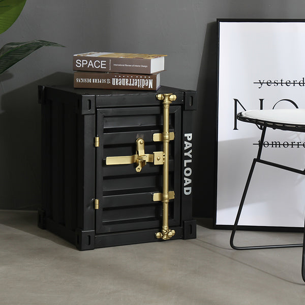 Urban Style Metallic Retro Container Alike Bedside Table Storage Cabinet Home Office Furniture - LEFT