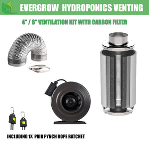 EverGrow Ventilation Bundle Kit Including Inline Fan Carbon Filter and Duct