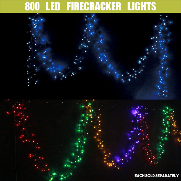 800 LED Fairy Firecracker Cluster Lights Wave/Water Flow Function Effect