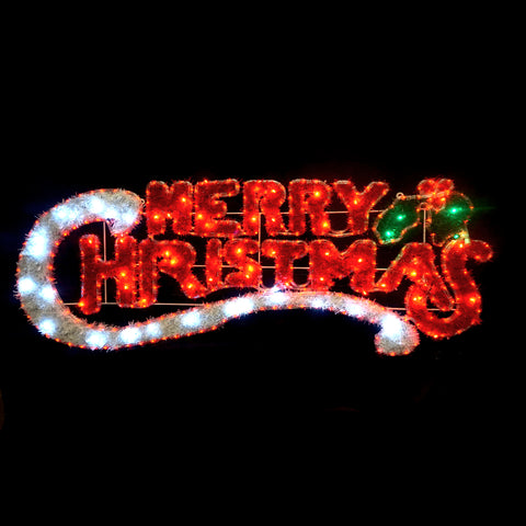 Christmas LED Motif Tinsel Stuffed Merry Christmas 150x53cm Indoor Outdoor Display Sign