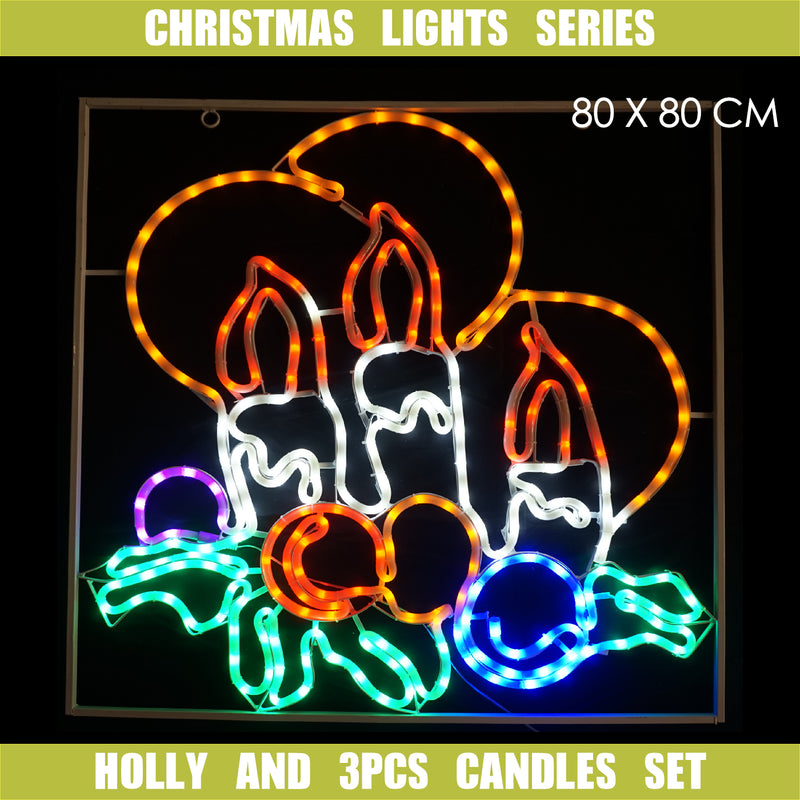 Christmas LED Motif Twinkling Holly Candles 80x80cm Indoor Outdoor Display Sign