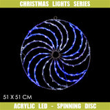 Christmas LED Motif Acrylic Spinning Disc 51x51cm Blue White Indoor Outdoor Display Sign