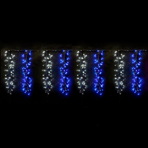 800 LED Icicle Firecracker Cluster Lights Wave/Water Flow Function Effect - Blue White Edition