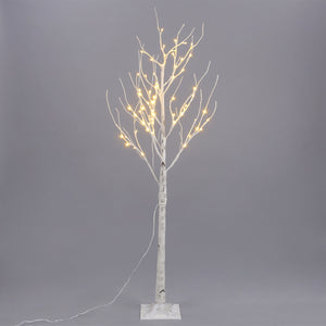 120, 150, 180cm Christmas White Twig Branch Tree in Warm White LED Tips