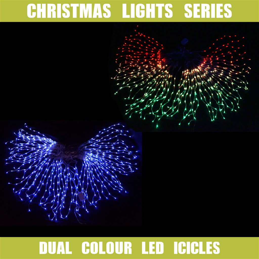 Dual Colour LED Icicle Curtain Lights Waterflow Effect Red/Green, Blue/White Combo
