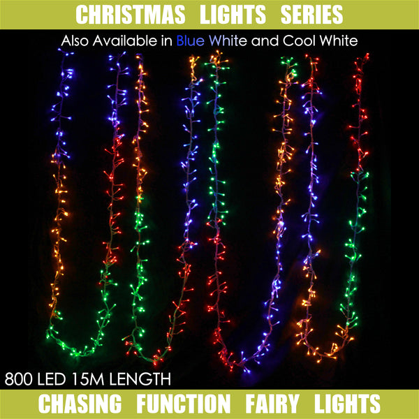 800 LED 15m Fairy Lights Waterflow Chasing Effect In Multi, Cool White, Dual Colour Blue White Colours