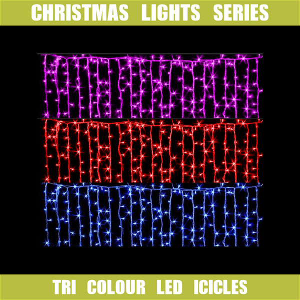 Tri-colour LED Icicle Curtain Lights 13m/20m Wateflow Effect Red/Pink/Blue