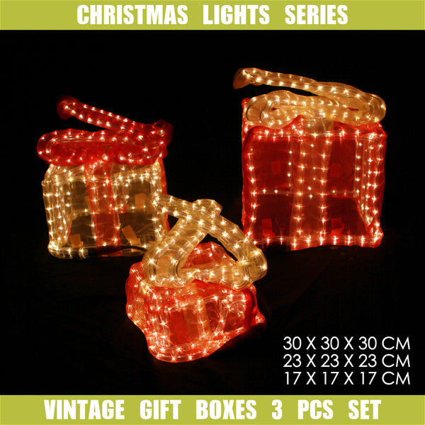 3D Christmas Vintage Motif 3 Pcs Gift Boxes Set Indoor Outdoor Display