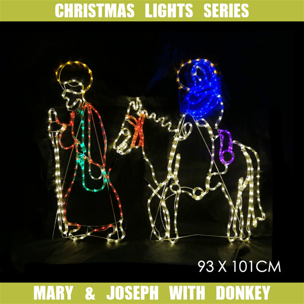 Christmas LED Motif Mary Riding Donkey with Joseph Nativity 93 x 101cm Indoor Outdoor Display Sign