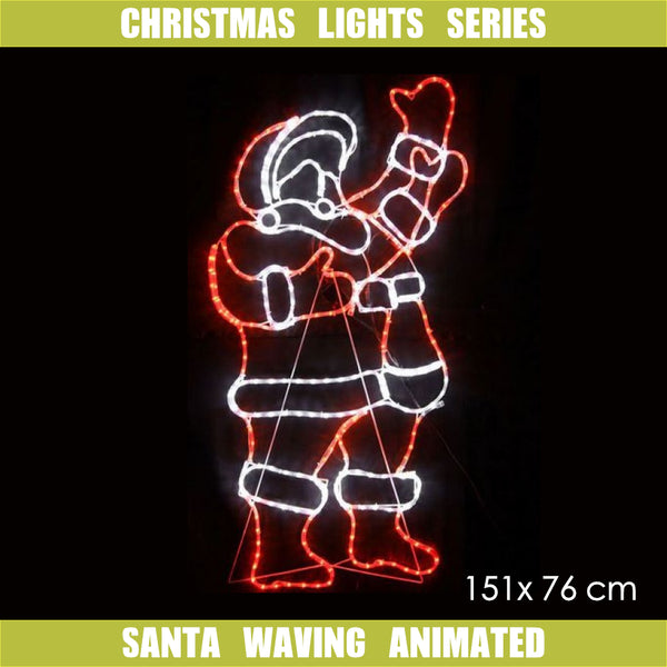 Christmas LED Motif Classic Waving Santa 151x76cm Indoor Outdoor Display