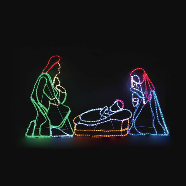 Christmas LED Motif Jesus Birth Nativity 130 x 120cm Indoor Outdoor Display Sign