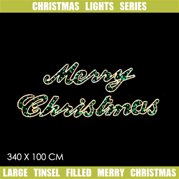 Christmas LED Motif Green Tinsel Stuffed Merry Christmas Warm Lights 340x100cm Outdoor