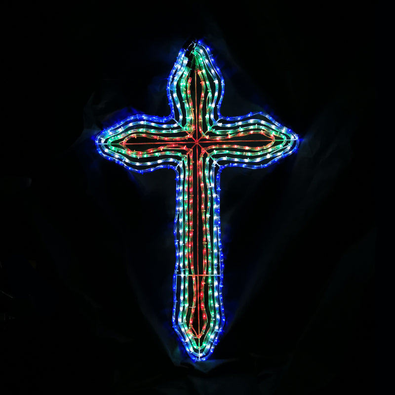 Christmas LED Motif 4 Layer Cross Multi Colour 121x75cm Outdoor Display