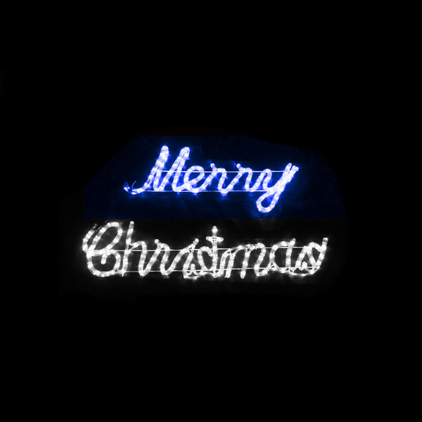 Christmas LED Motif Blue White Merry Christmas 106x36cm Indoor Outdoor Display Sign