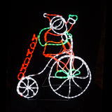 Christmas LED Motif Santa Riding High Wheeler 100x88cm Indoor Outdoor Display
