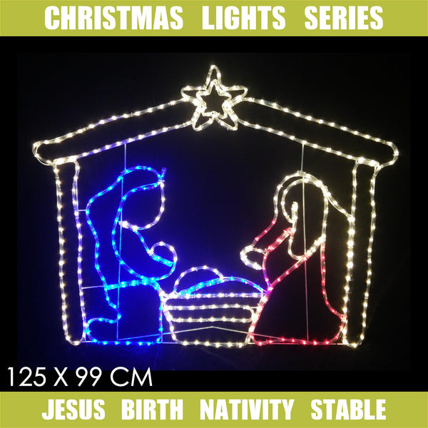 Christmas LED Motif Jesus Birth Nativity Stable 125x99cm Indoor Outdoor Display Sign