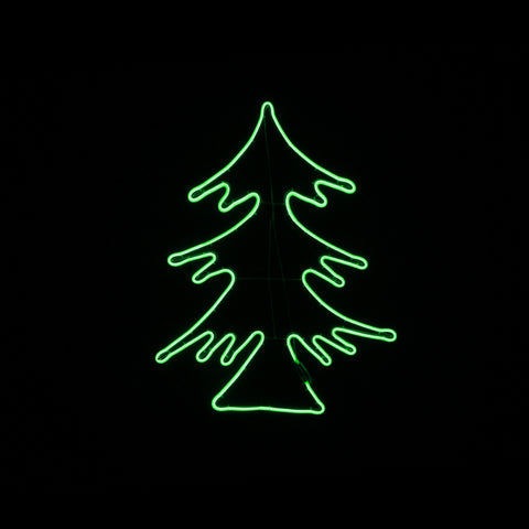 Christmas LED Motif Neon Green Christmas Tree 64x81cm Indoor Outdoor Display Sign