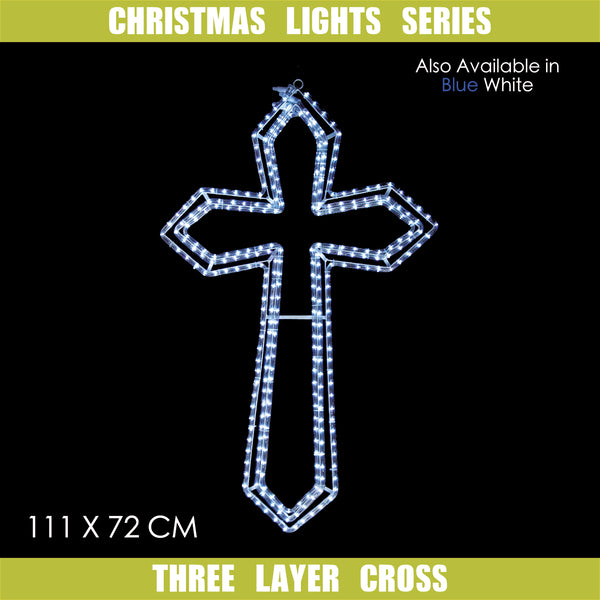 Christmas LED Motif 3 Layer Animated Jesus Cross 111x72cm Indoor/Outdoor
