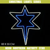 Christmas LED Motif Neon Northern Nativity Star 83x55cm Indoor Outdoor Display Sign