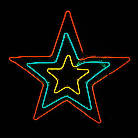 Christmas LED Motif Neon 3 Layer Star 60x50cm Indoor Outdoor Display Sign