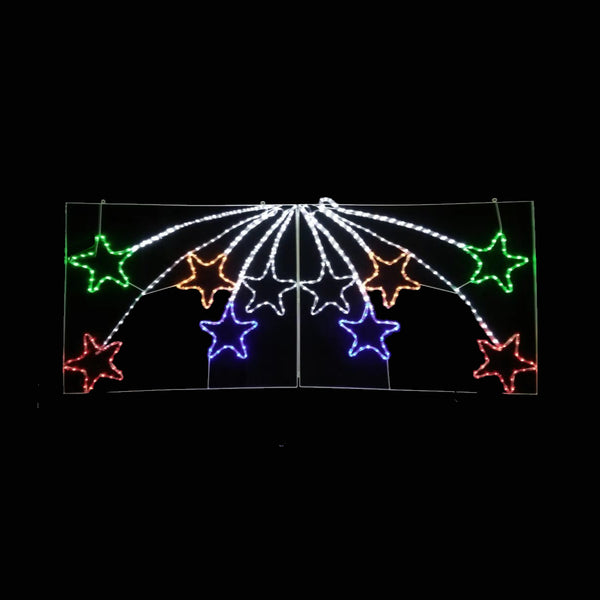 Christmas LED Motif 10 Pcs Bursting Stars 180 x 75cm Indoor Outdoor Display Sign