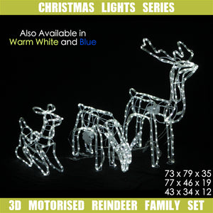 3D LED Christmas Motif Motorised Reindeer Family Set Indoor/Outdoor